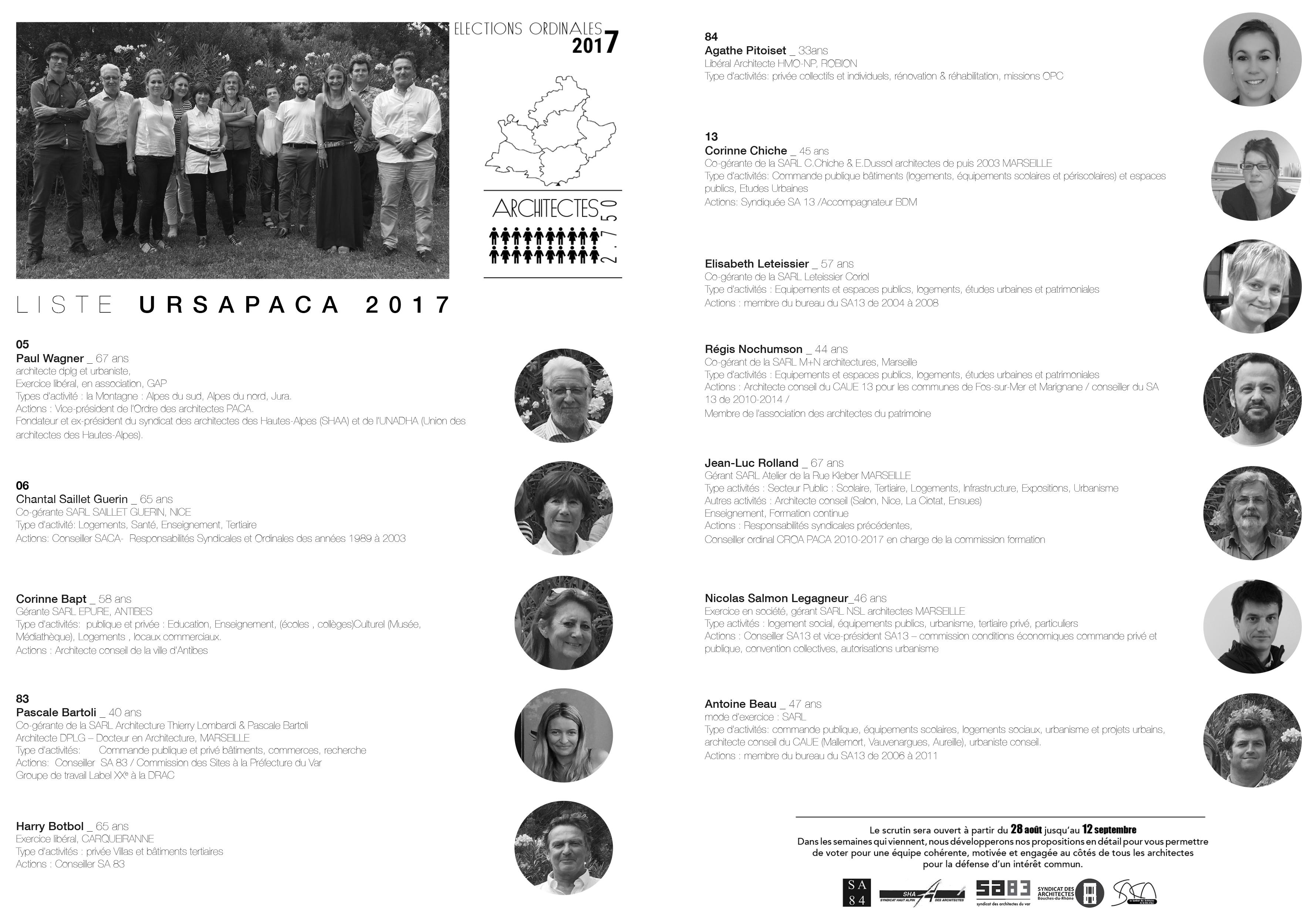 Liste Ordre Des Architectes présentation de la liste ursapaca aux Élections ordinales